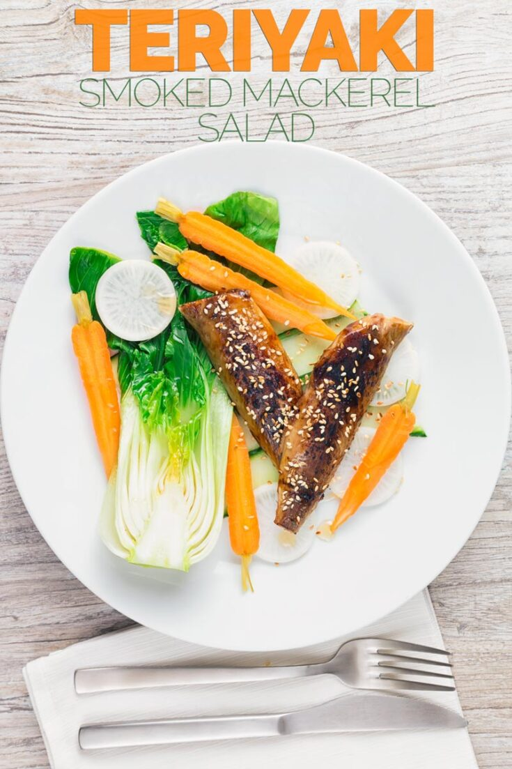 Smoked Mackerel is one of my favourite products, cheap, full of great flavour and a long shelf life. This smoked mackerel salad features smoked mackerel fillets coated with a teriyaki sauce and then broiled and is served with a simple quick salad! #smokedmackerelfilletrecipe #smokedmackerelsaladrecipe