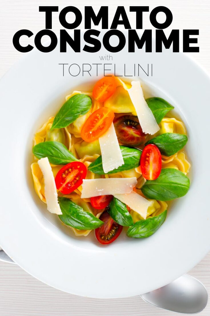 A consomme is a crystal clear stock, this tomato consomme is made by hanging overripe tomatoes and is served with tortellini, fresh tomato and basil. It makes for the most beautiful and elegant soup recipe!