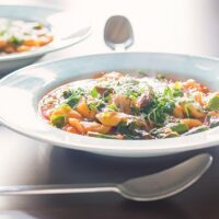 Tomato and Asparagus Soup with Pasta