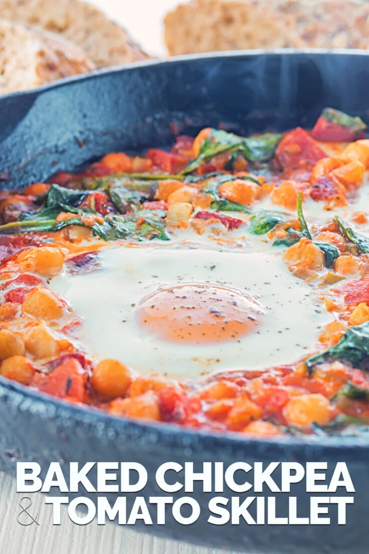 This Baked Chickpea and Tomato Skillet is the perfect lazy night dinner, so lazy in fact you could if eat it straight from the pan... Naughty! #skilletchickpeabake #onepotmeals vegetariandinners