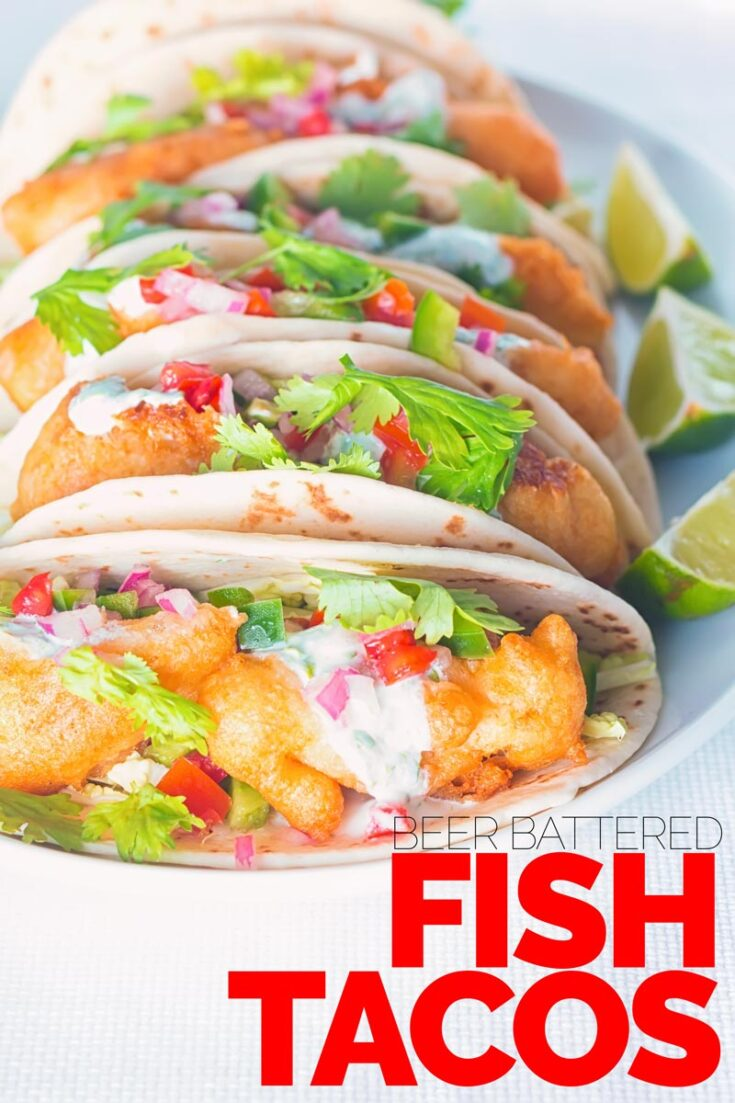 Some glorious beer battered fish tacos that are thing of great beauty, loaded with the flavours of cumin, coriander and lime! Ready super quick these make a great weeknight treat or a perfect party fodder. #beerbatterrecipe #crispyfishtacos #tacosrecipe