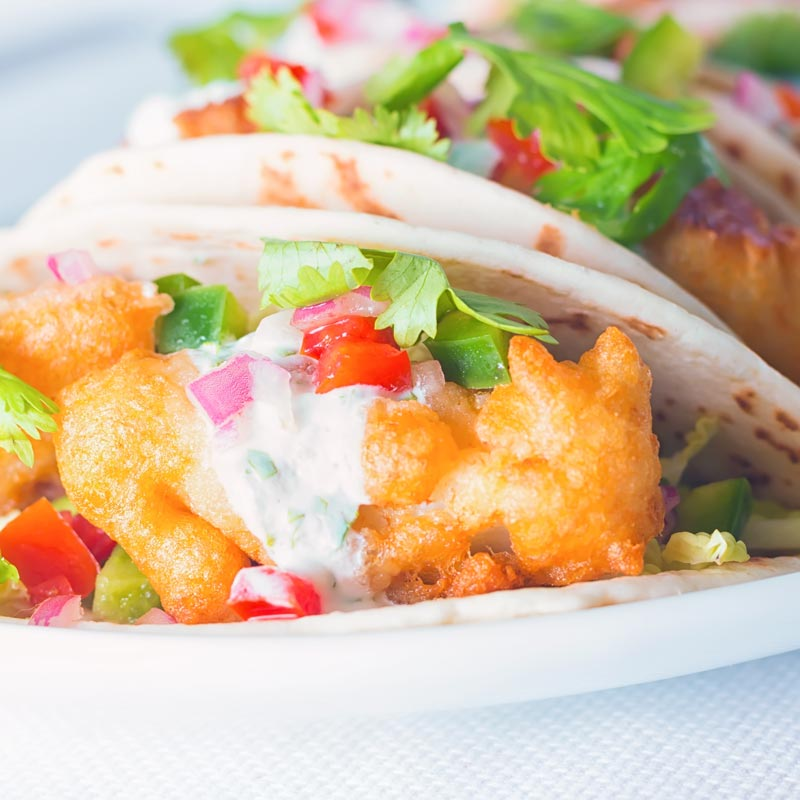 Close up of beer battered fish tacos
