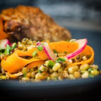 Carrot and Mung Bean Salad With Spiced Chicken Thighs