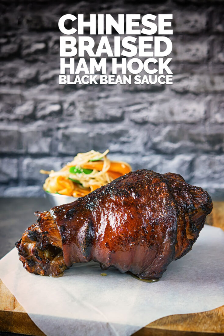 A slowly braised ham hock is a beautiful thing, this one is braised in a Chinese black bean broth which is then flashed through a hot oven to get a beautiful glaze... This dish is a real stunner from one of the cheapest cuts of meat you can buy! #cheapcutsofmeat #boneinporkmeat #chinsesstylepork