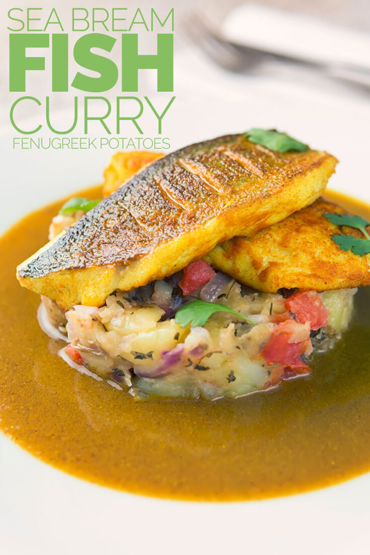 This deconstructed fish curry borrows some flavours from a classic Goan seafood curry, but pairs it with turmeric sea bream fillets and fenugreek potatoes. And guess what? It cooks in just 30 minutes, yup just 30 minutes!