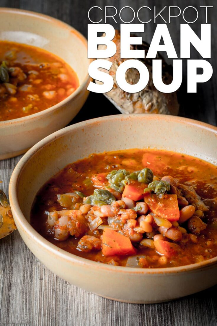 This simple but heart tomato and bean soup takes just 10 minutes of your time and can be cooked in a slow cooker or on the stove!