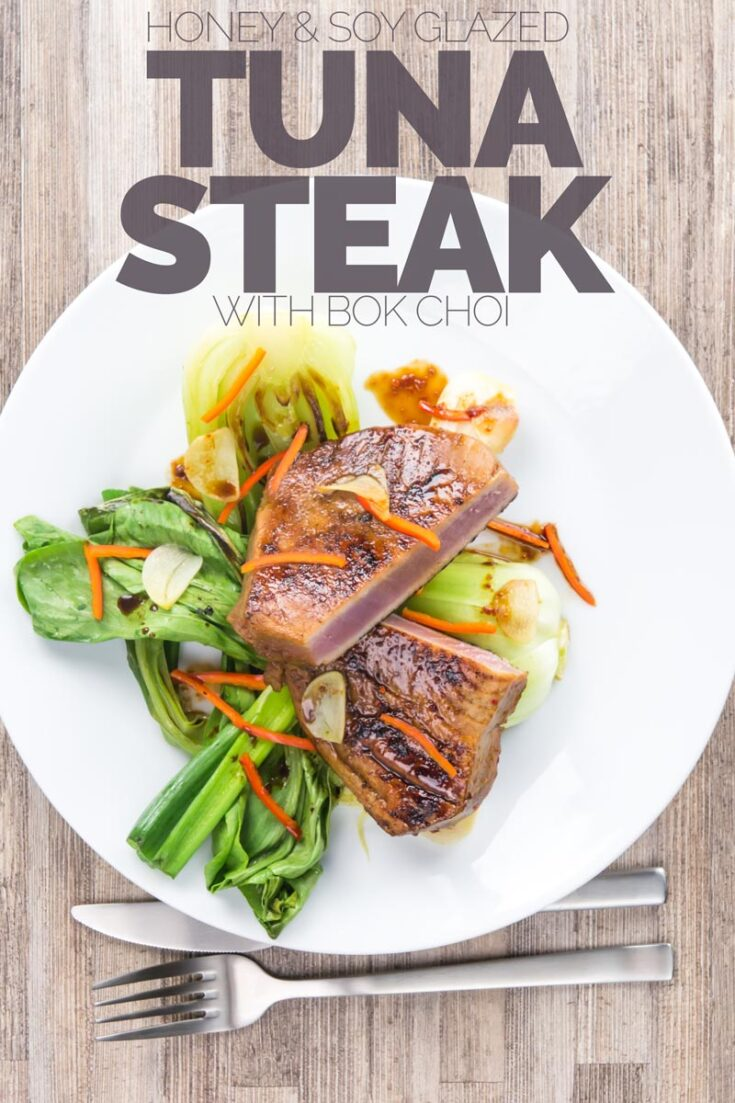 This glorious honey and soy glazed tuna steak is pimped up with a bit of chili and seared rather than cooked, it is served with some garlic braised pak choi and spring onions, A real treat for a weeknight dinner and all-ready in 30 minutes.. #tunasteakseared # howtocooktunasteak