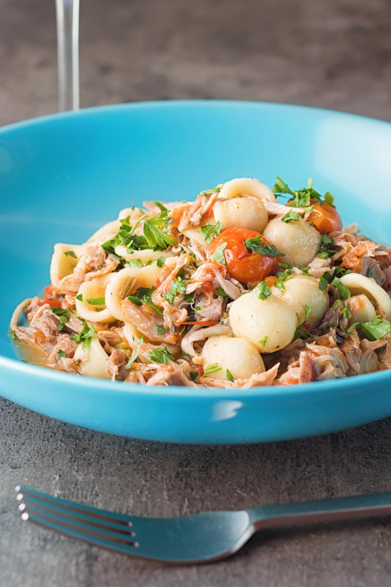 Portrait image of a light shredded rabbit ragu with orecchiette pasta served in a blue bowl