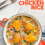 Tall overhead image of one pot chicken and rice featuring turmeric chicken thighs and red onion slivers with text
