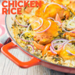 Tall close up image of one pot chicken and rice featuring turmeric chicken thighs and red onion slivers with text