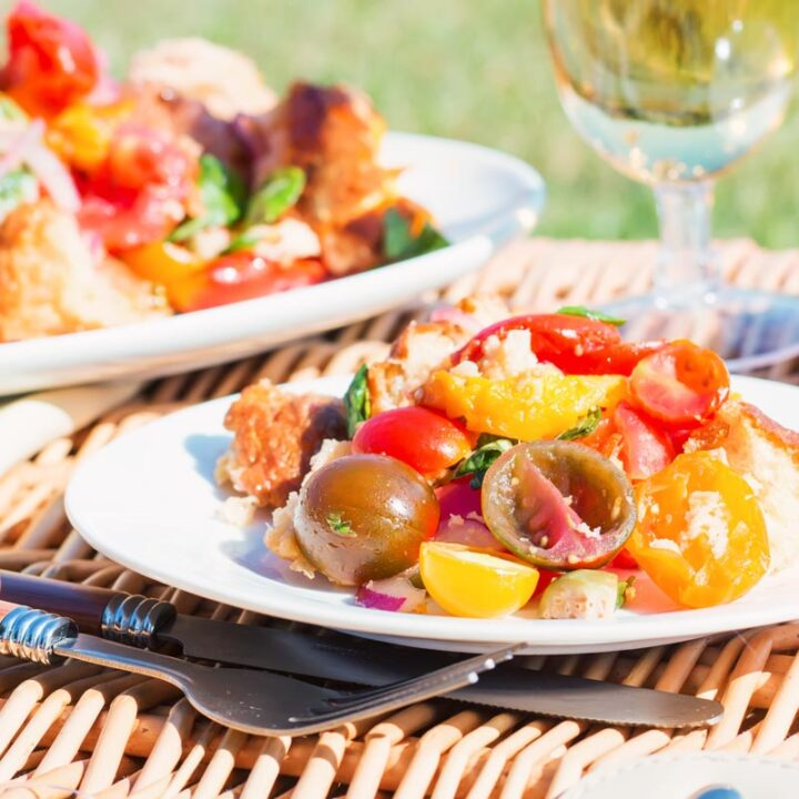 Panzanella salad really is a wonderful frugal route to Picnic Perfection, stale bread and beautiful ripe tomatoes make this Italian classic salad a must make