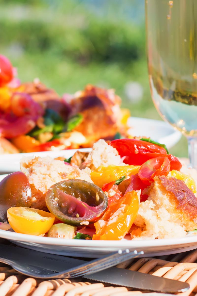 Close up tall image of a panzanella salad in a lake side setting with a glass of wine