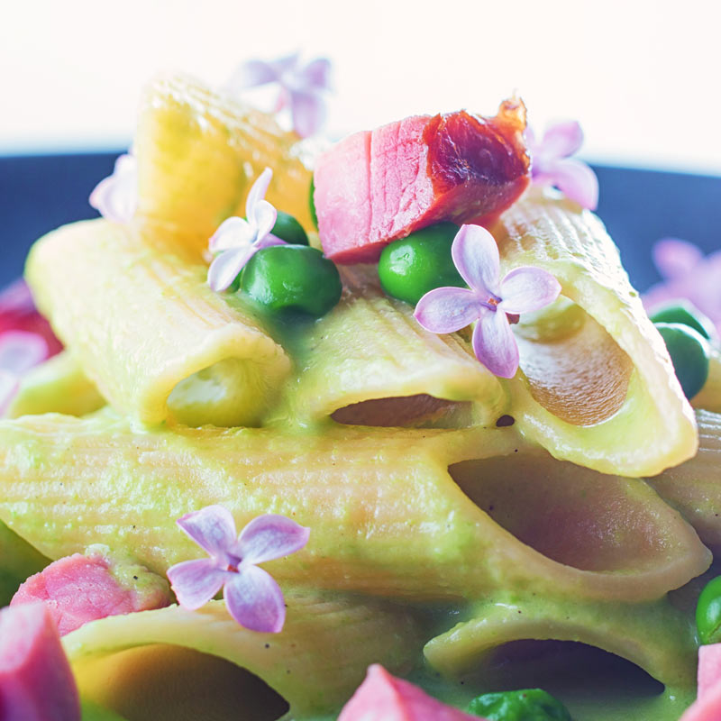 Square close up image of pea and Ham pasta with a pea puree, fresh peas, chunks of ham and lilac edible flowers