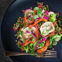 Puy Lentil Salad With Goat Cheese and Roasted Peppers