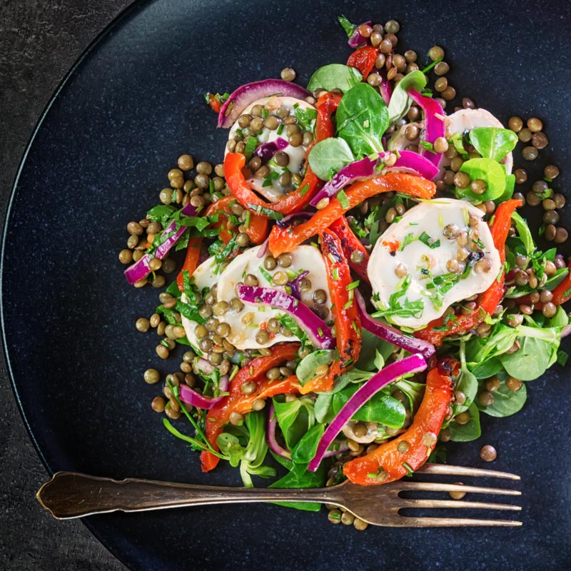 Square image of a puy lentil salad with soft goats cheese, red onion and roasted red peppers on a black plate with a vintage fork