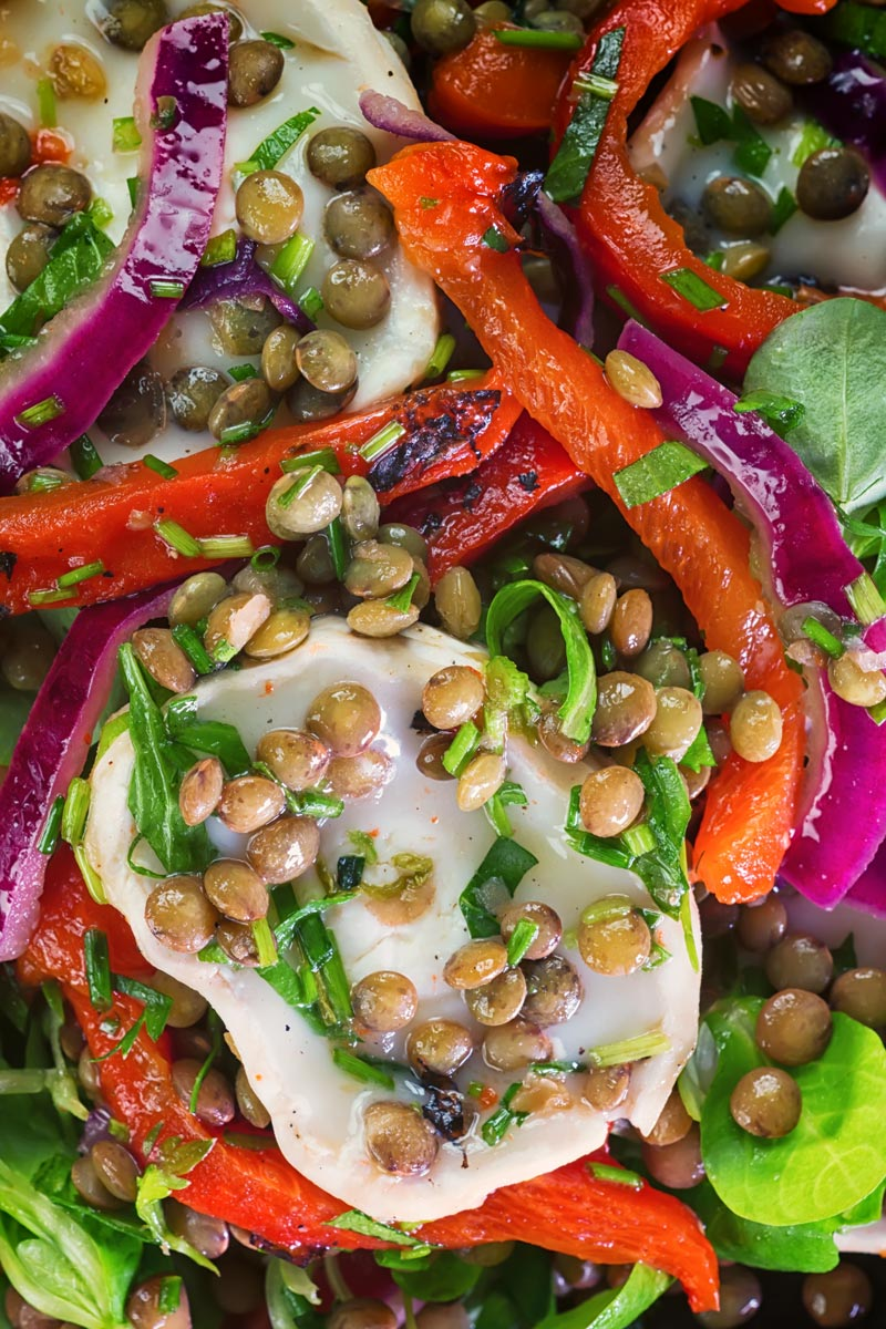 Overhead close up image of a puy lentil salad with soft goats cheese, red onion and roasted red peppers