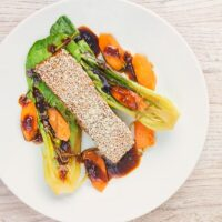 Sesame Salmon with Ginger Bok Choi