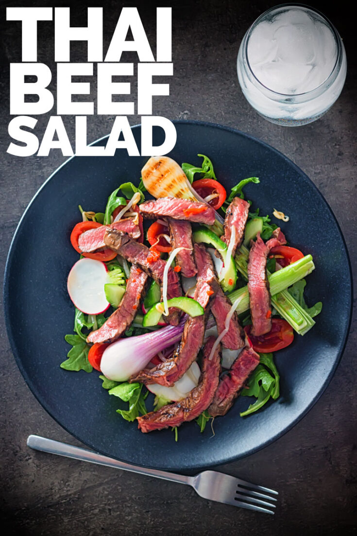 This Spicy Thai Beef Salad is a bit of a mish mash of inspirations but the dressing is all Thai and packs a serious chili punch! Ready in 20 minutes this salad is a great week night dinner filler! #salad  #spicyrecipes