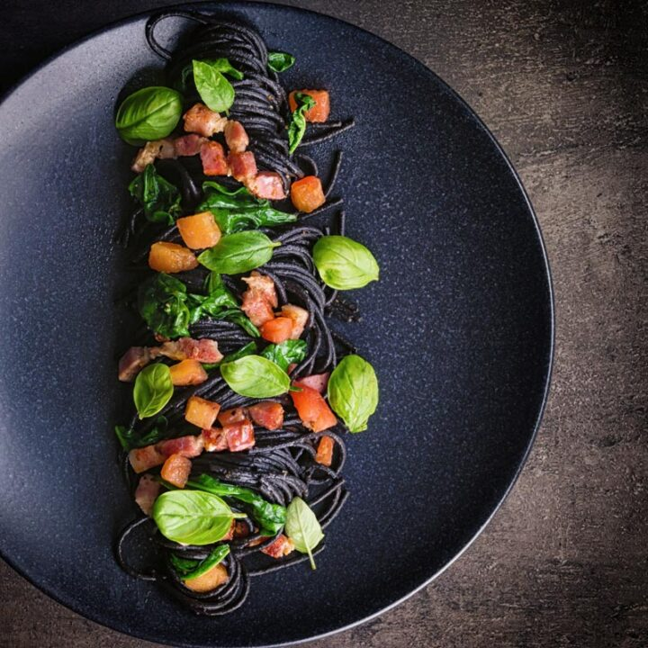 Squid Ink Pasta with Bacon, Spinach and Capers