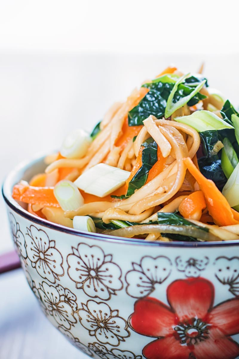 Close up portrait image of a bowl with Asian patterns containing sweet and sour Stir Fried Noodles