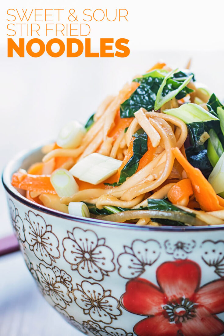 When it comes to fast food stir-frying is hard to beat, these sweet and sour stir fry noodles take just 5 minutes to cook and 10 to prep. They are vegetarian, super tasty and make for a great side dish or a light supper or lunch.
