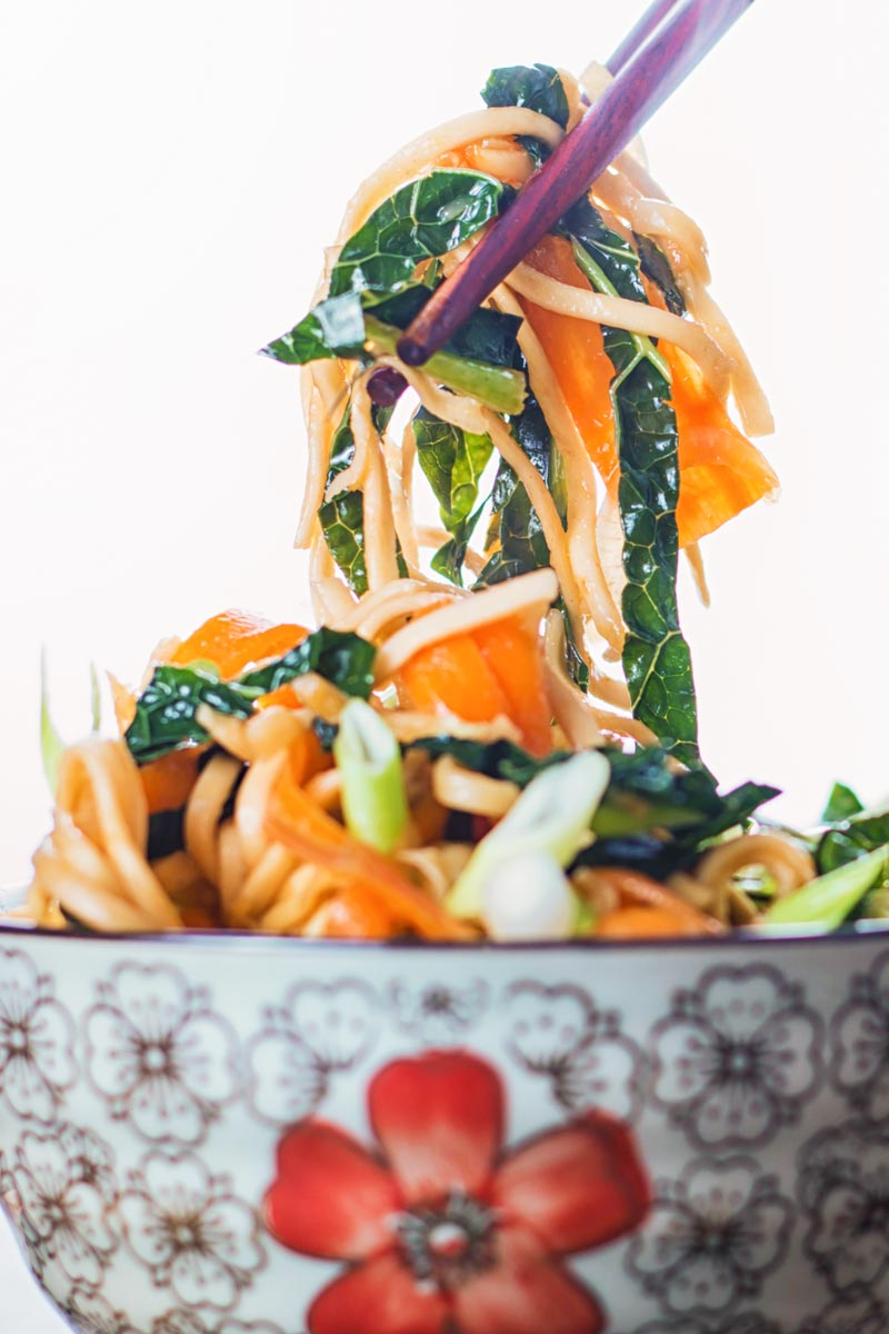 Close up portrait image of a bowl with Asian patterns with sweet and sour Stir Fried Noodles being lifted with chopsticks
