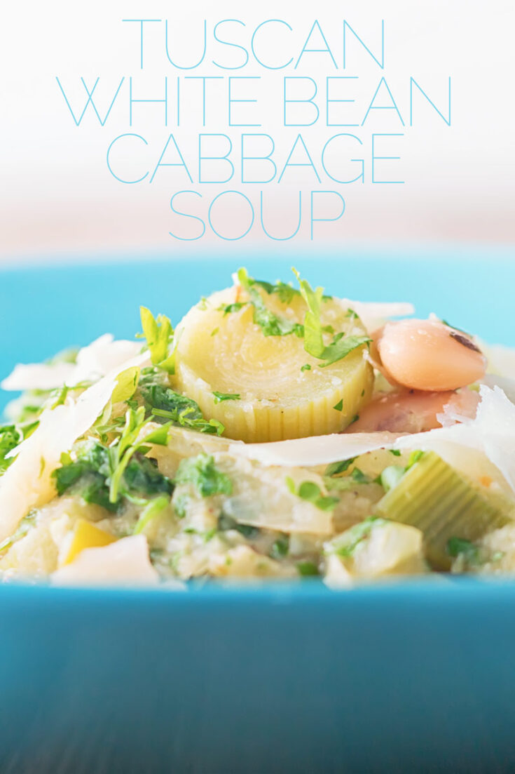 This cabbage and white bean soup started life as my take on Zuppa Toscana! My version became much more frugal and vegetarian many years ago, it tastes a million dollars despite costing pennies. #souprecipes #vegetariansoup #soup #beansoup