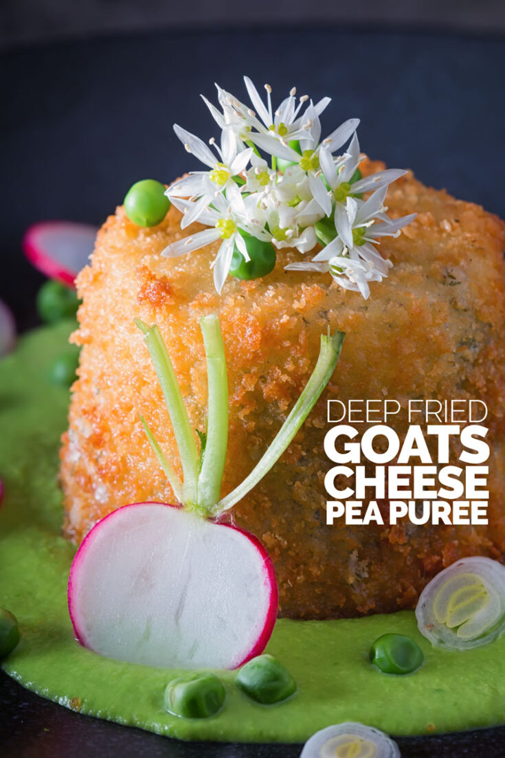 This fried goats cheese recipe with pea puree may look all delicate and pretty but it is sheer indulgence all ways around!