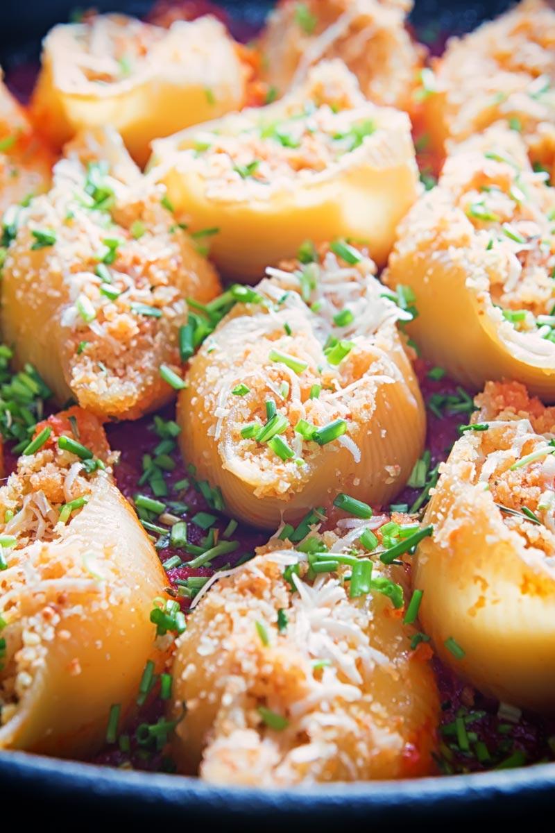 Portrait close up image of Goats Cheese Stuffed Pasta Shells