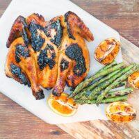 Grilled Spatchcock Chicken With Orange Marmalade Glaze
