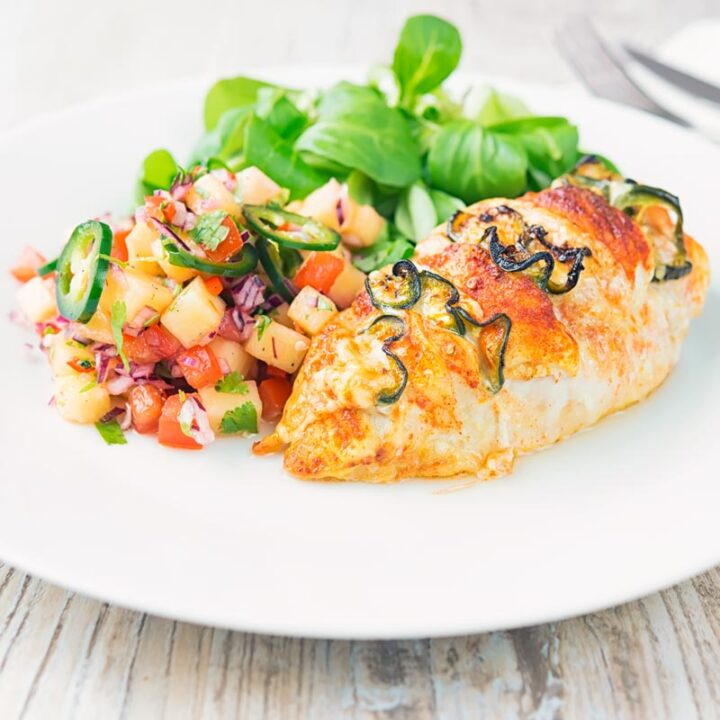 Recipe for Simple Chicken Breast Stuffed with Cheese and Jalapeno