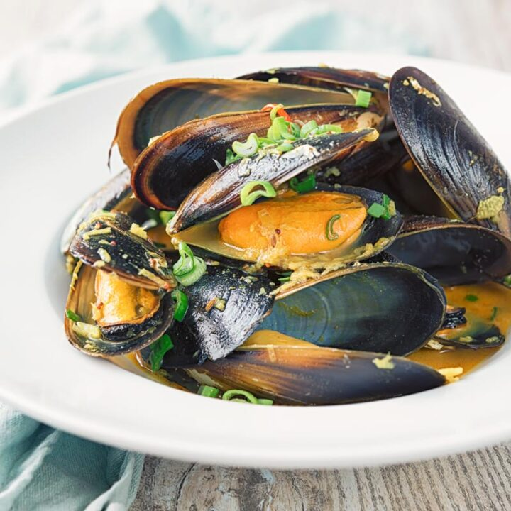 Square image of an Indian curry mussels served in a white bowl with a coconut broth and spring onions