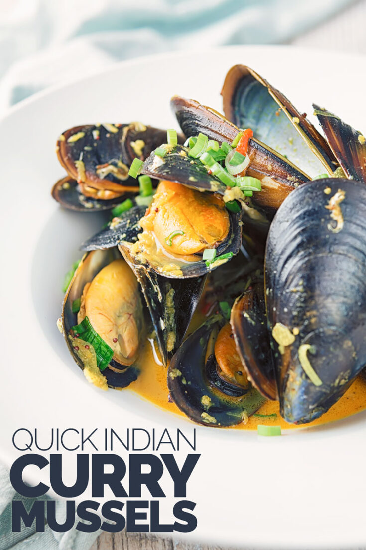 This recipe takes one of my favourite foods and adds my favourite 'national flavours. These Indian Curry mussels are a real favourite of mine, simple to cook and lightning quick at just 15 minutes if your mussels are prepped by your fishmonger!