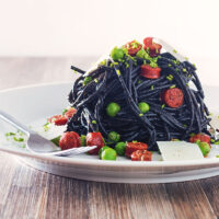 Squid Ink Spaghetti with Pepperoni and Peas