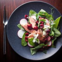 Duck Salad with Balsamic Cherry, Spinach and Radish