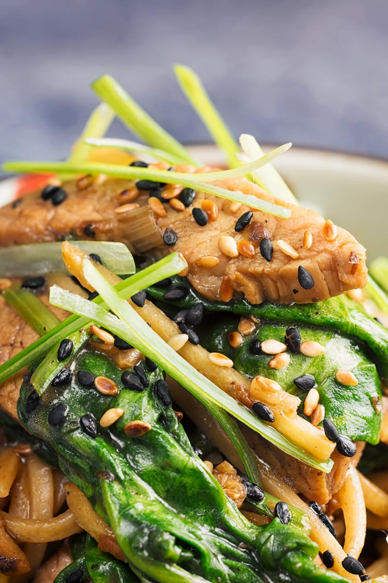 Portrait close up image of a pork stir fry with spinach and noodles