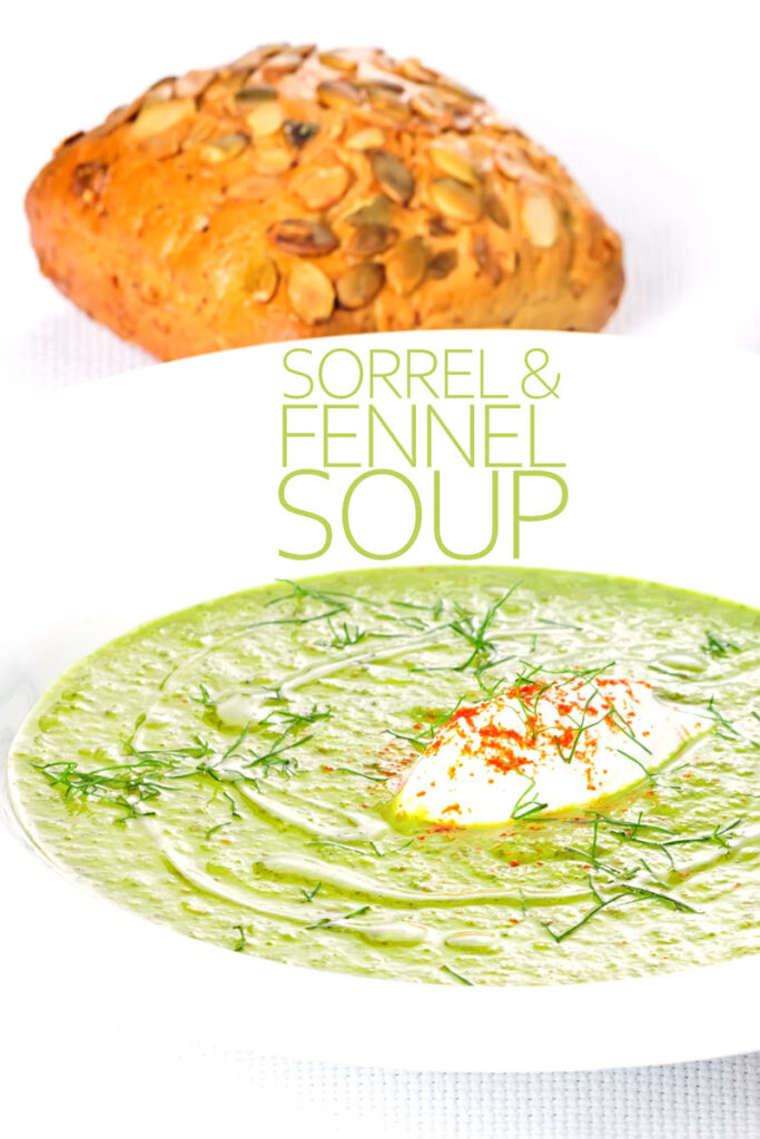 Portrait image of a sorrel and fennel soup served in a white bowl with a dollop of sour cream and sprinkling of paprika with text