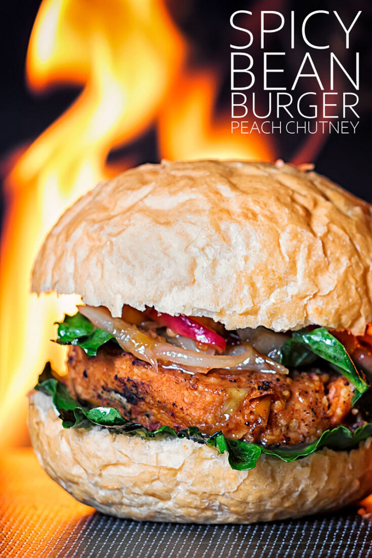 A great burgeris a thing of great beauty and this bean burger is a great burger, whether you are vegetarian or not! A wholesome mix of beans and lentils with a spicy chili kick served with an Asian inspired sweet peach chutney!