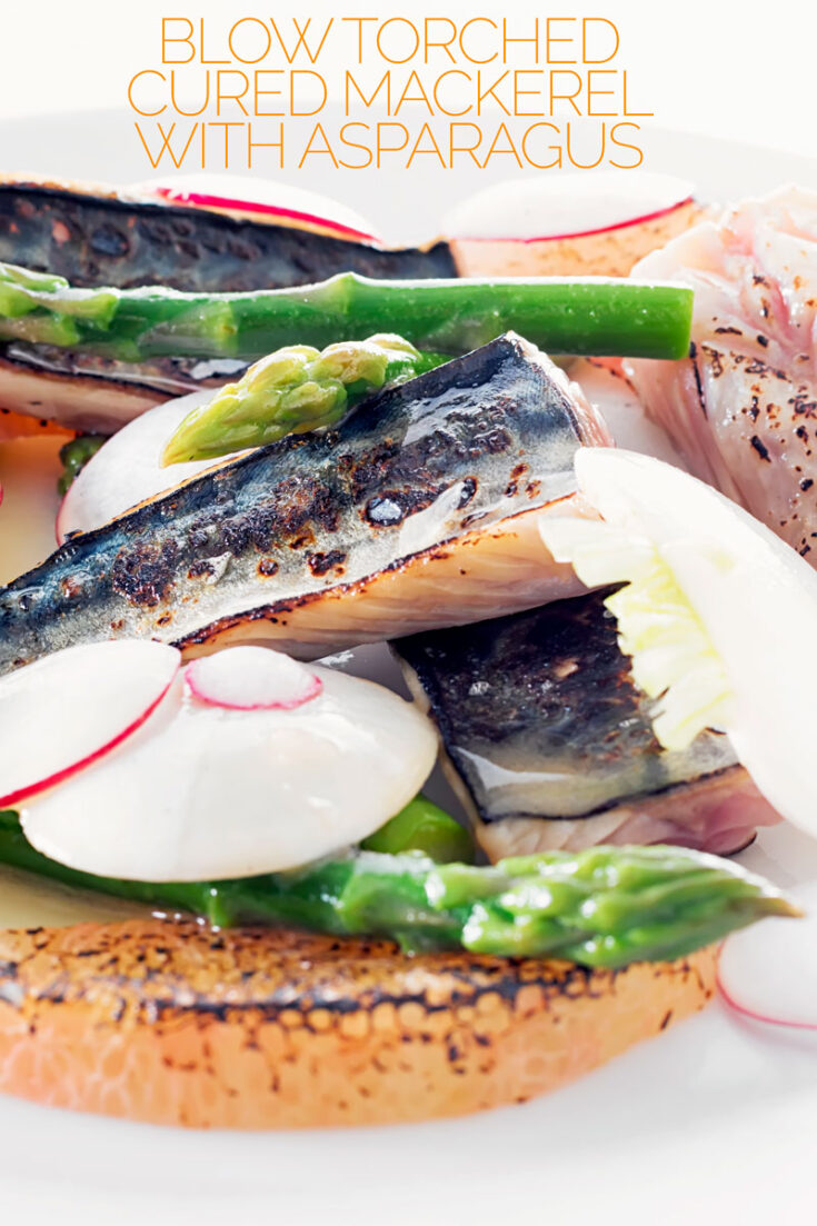 This simple midweek salad features quick home cured mackerel fillets which are seared with a blow torch, some honey pomelo and asparagus spears. The whole thing takes just 20 minutes and tastes sublime!