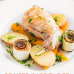 Portrait image of a braised rabbit leg served with new potatoes, carrots and seared leeks with text