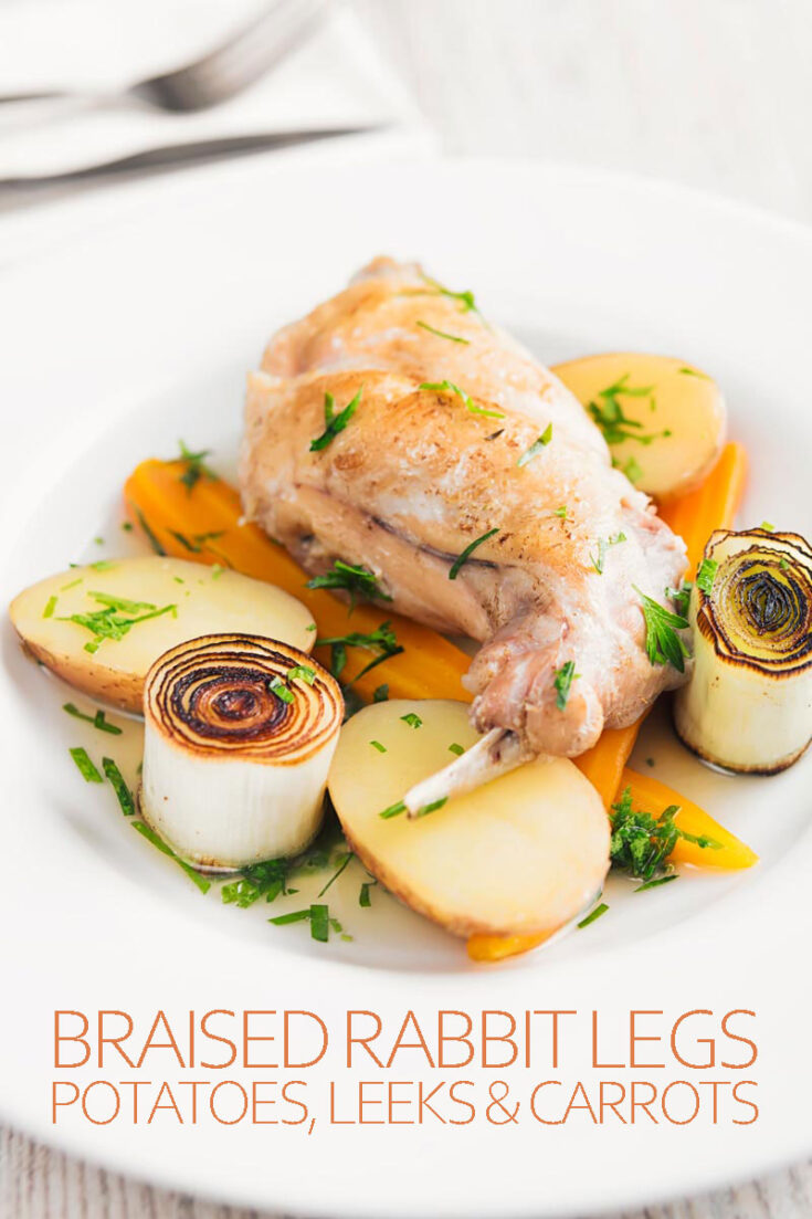 This simple braised rabbit leg recipe celebrates simple old fashioned cooking with old school European ingredients. The braising liquid is served as a little broth with the dish, add some simply seared leaks and you have beautiful looking and incredible tasting dinner! #rabbitlegsrecipe #rabbitlegsintheoven