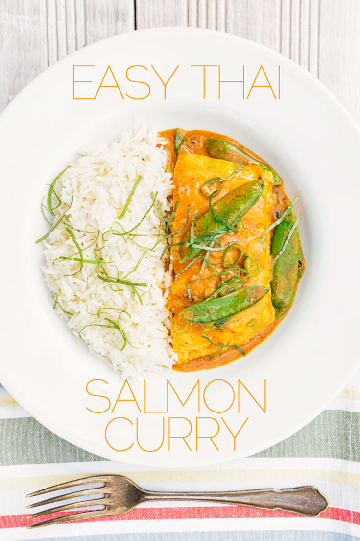 At 20 minutes from start to finish, this easy Thai salmon curry is a fantastic midweek dinner that even the most rushed of families can manage! It is hot with a red Thai curry paste and lent a touch of sweetness from mangetout and silkiness from coconut milk.
