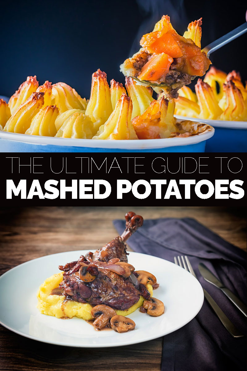 Two dishes featuring mashed potatoes with a text overlay