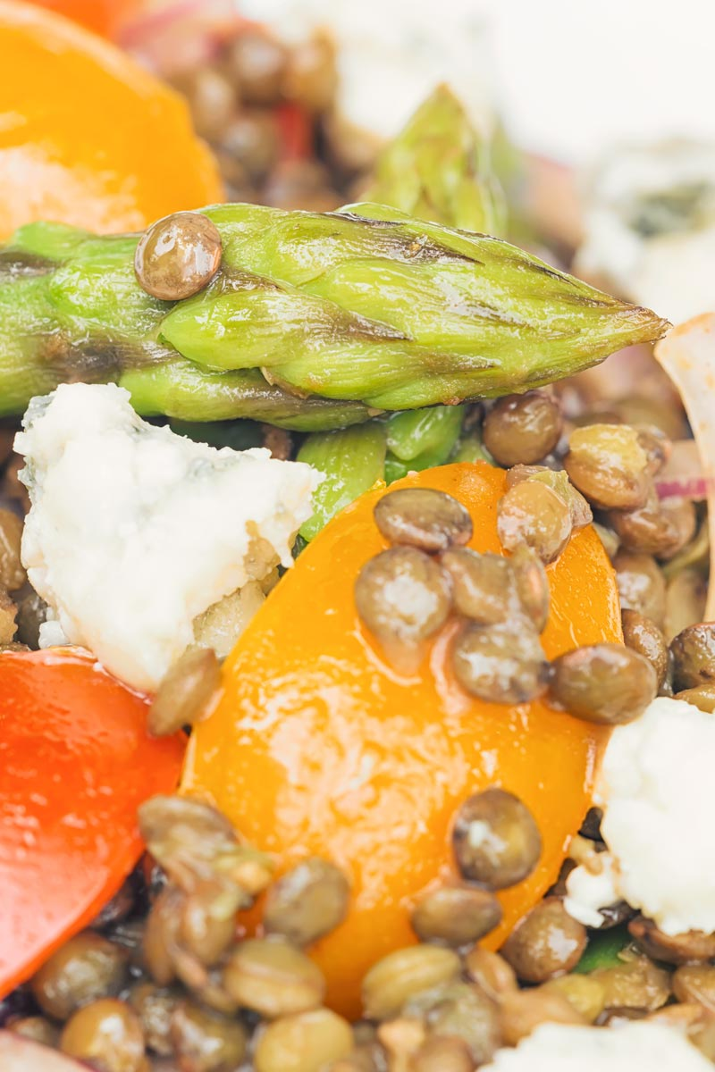 Close up portrait image of an asparagus spear in an asparagus salad featuring tomatoes and lentils and crumbled Roquefort cheese
