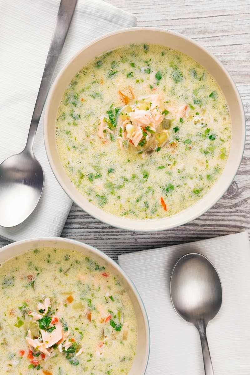 Portrait overhead image of two bowls of salmon chowder set against a light back drop