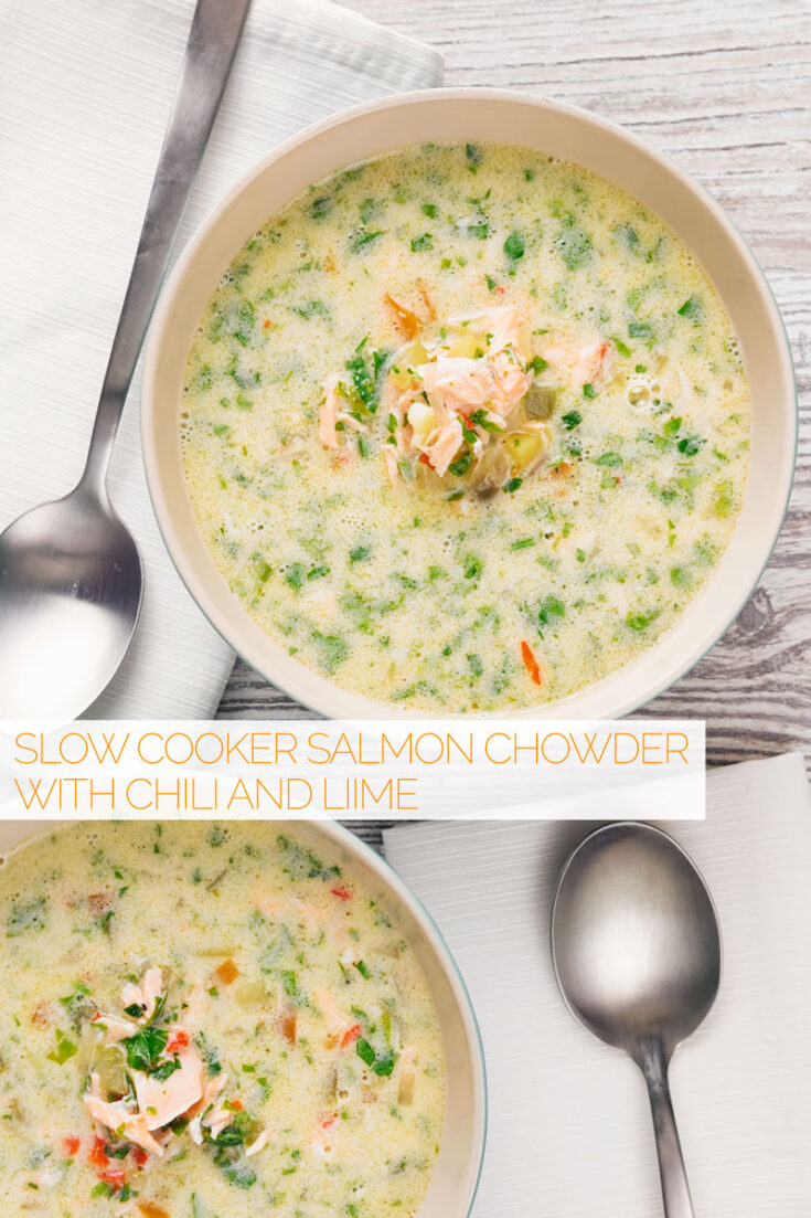 This salmon chowder recipe is a lightened and brightened version of a classic food that is occasionally quite heavy. My version is not thickened and gets a real lift in flavour from chili and lime.#easysalomchowder #slowcookerchowder #fishsupper
