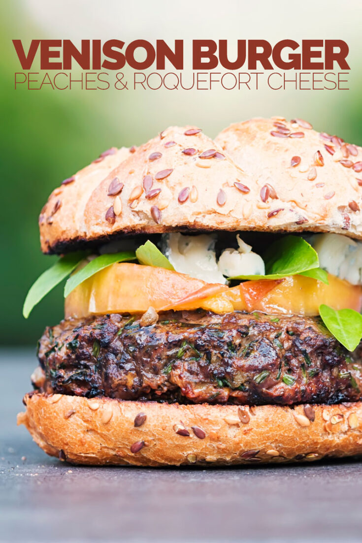 You can't beat a good grilled burger, but there is life beyond beef. This venison burger is topped with gin cooked peaches and blue cheese! It is both a head turner and a crowd pleaser!