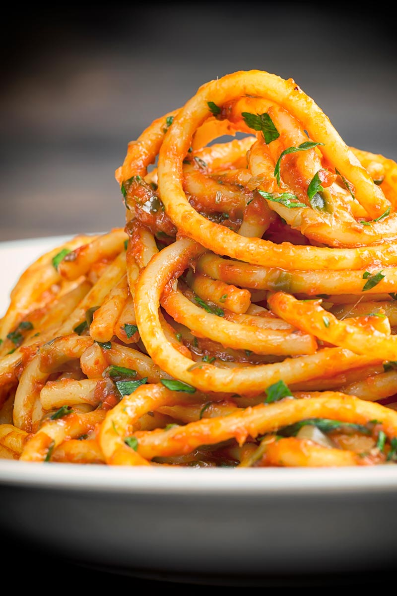 Portrait image of Bucatini pasta in a rich tomato sauce