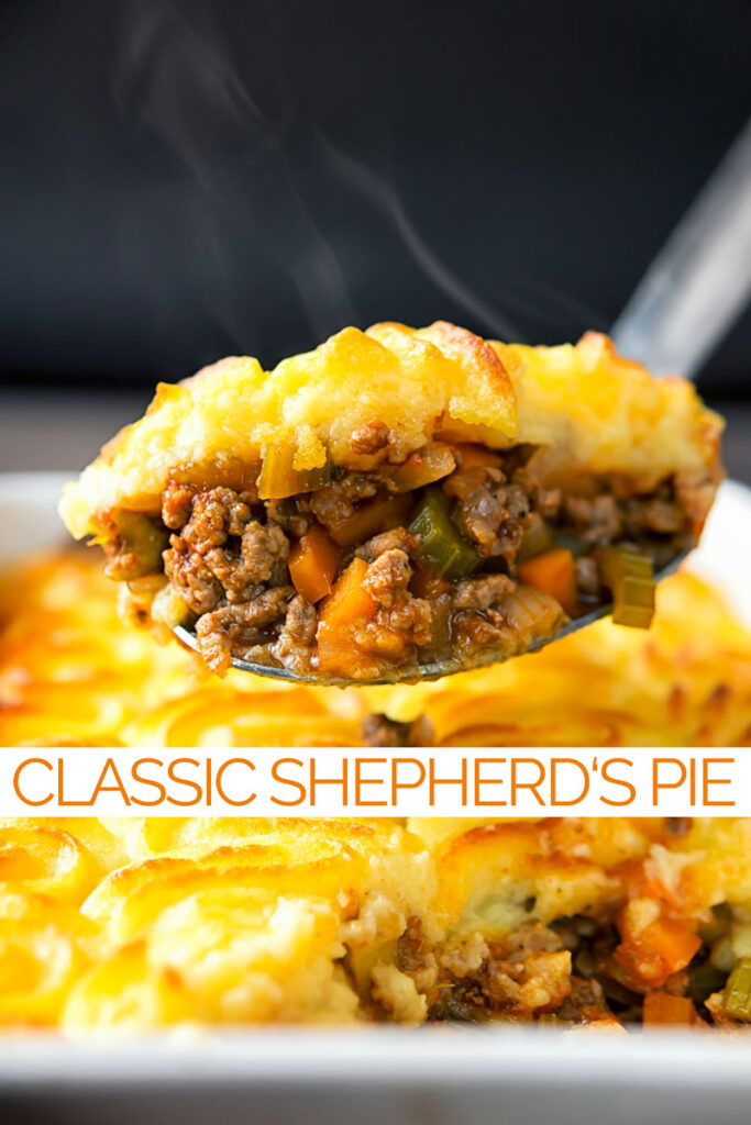 Portrait image of a serving spoon full of shepherds pie taken form a pie dish with text overlay