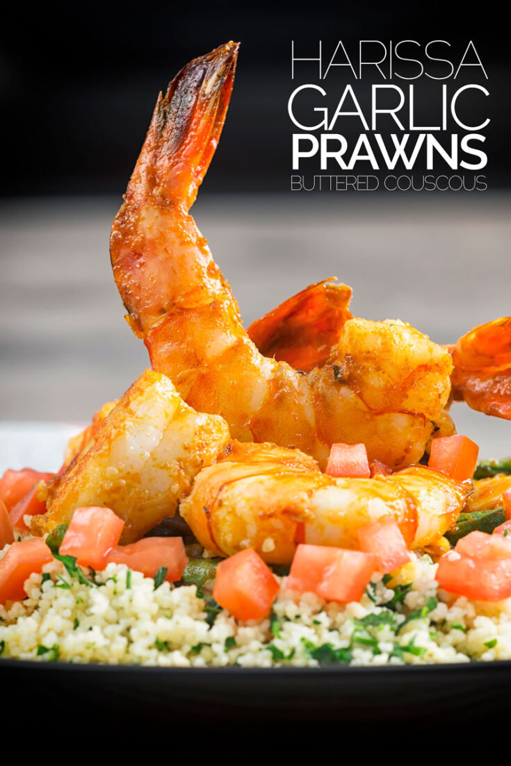 It is hard to look beyond seafood when it comes to quick meals and these harissa and garlic prawns. Served with buttered couscous this entire meal is ready in less than 30 minutes and raises smiles all around! #giantprawnrecipes #garlicshrimprecipes #harissashrimp #fishsupper